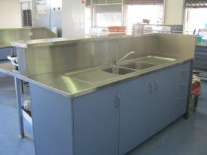 Beau Cessnock High School Canteen Stainless Steel Island Bench With Integrated  Sink And Counter